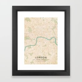 London, United Kingdom - Vintage Map Framed Art Print