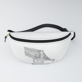 Brooklyn Bridge Hand Line Drawing New York design Fanny Pack