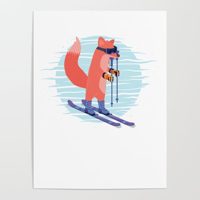 Skier Ice Skating Skater Winter Sports Adventure Fox Skiing Gift Poster