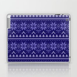 Knitted Christmas pattern in blue Laptop & iPad Skin