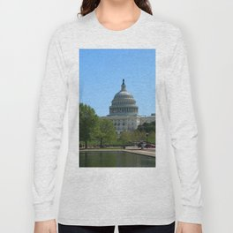 Capitol View With Reflection Pool Washington DC Long Sleeve T-shirt