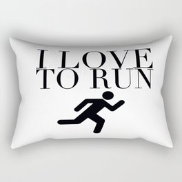 I Love to Run with Running Stick Figure in Black Rectangular Pillow