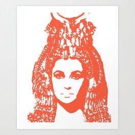 Elizabeth Taylor as Cleopatra - Orange / Terra Cota Art Print