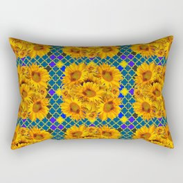 BLOCKS OF YELLOW SUNFLOWERS ON TEAL & PURPLE PATTERN Rectangular Pillow