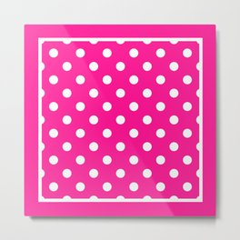 Hot Pink Polka Dots Palm Beach Preppy Metal Print