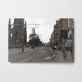 Buses along Princes Street Edinburgh Metal Print