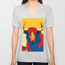 Spanish Bull Fighting festival running cow animal Art Print Unisex V-Neck