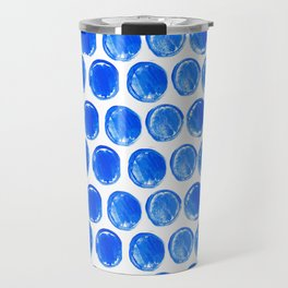 Blue acrylic circles pattern Travel Mug