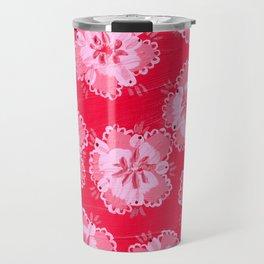 Cranberry Lace Rose Travel Mug