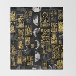 Beautiful Tarot Print with Raven and Moon Throw Blanket