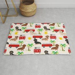Dachshund Beach day palm tree summer dog cute dog pillow dog blanket beach towel Rug