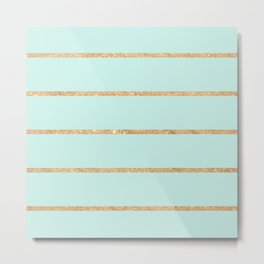 Modern pastel green faux gold glitter stripes pattern Metal Print