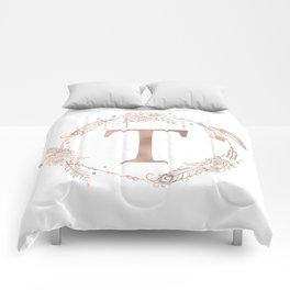 Letter T Rose Gold Pink Initial Monogram Comforters