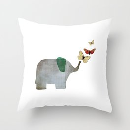 Elephant and friends Throw Pillow