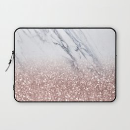 Rose Gold Glitter Marble Laptop Sleeve