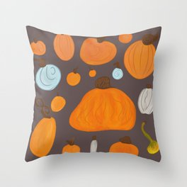 Pumpkin Family Dark Throw Pillow