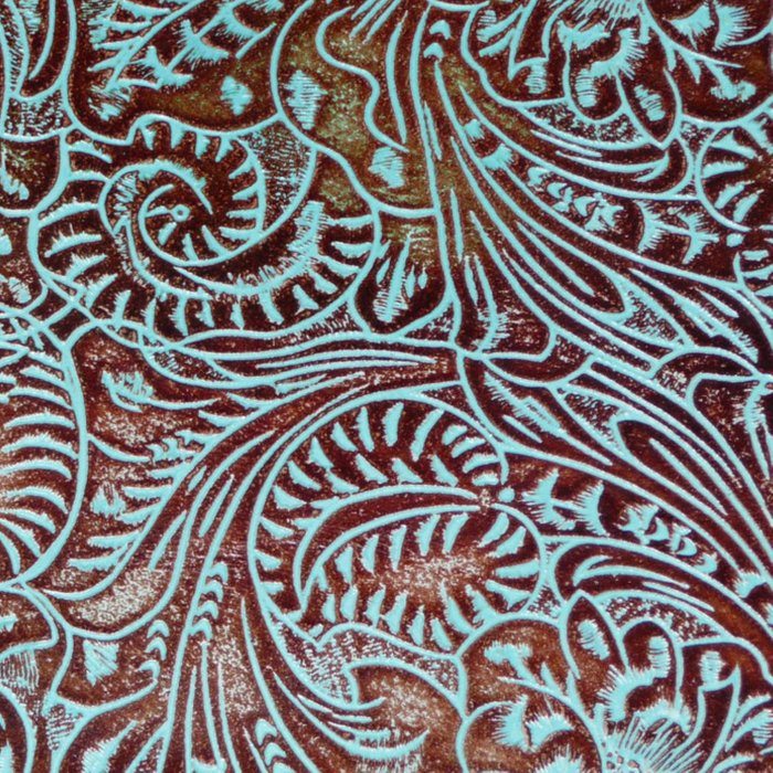 Light Blue & Brown Tooled Leather Comforters