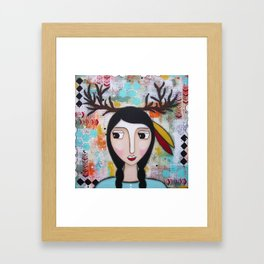 """Piccola donna di Medicina """" Cervo che Sogna"""" Framed Art Print"""