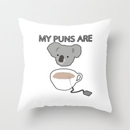 Koala Tea puns Throw Pillow