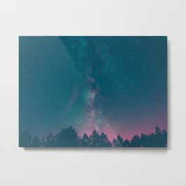Blue Purple Pink Silhouette Milky Way Galaxy Forest Metal Print