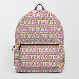 Texas, USA Trendy Rainbow Text Pattern (Pink) Backpack