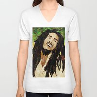 marley V-neck T-shirts featuring Marley Collage by Emily Harris