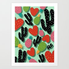 Cactus Love and Pineapples Art Print