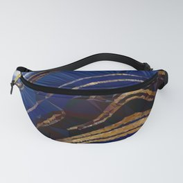 Blue Gold Marble Low Poly Geometric Triangle Art Fanny Pack