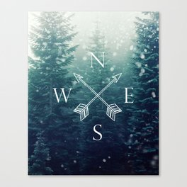 Arrow Compass in the Winter Woods Canvas Print