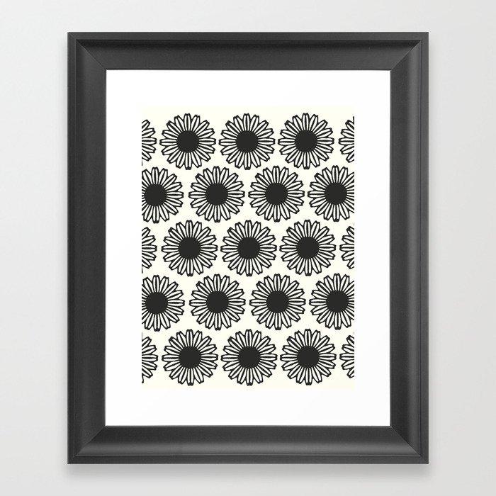 vintage flowers black Framed Art Print