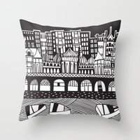 england Throw Pillows featuring Brighton, England by Caroline Rees
