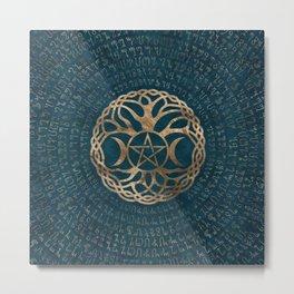 Triple Moon Goddess with pentagram and tree of life Metal Print