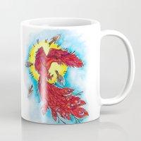 phoenix Mugs featuring Phoenix by missfortunetattoo