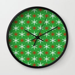 Red and white snowflakes pattern Wall Clock