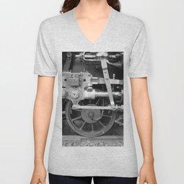 Old steam locomotive in the depot ZUG006CBx Le France black and white fine art photography by Ksavera Unisex V-Neck