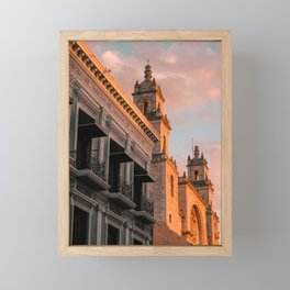 Pastel and Pink Sunset on Facades in Merida | Mexico Travel Photography Framed Mini Art Print
