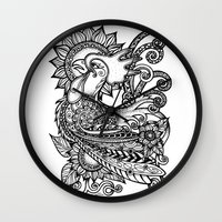 rooster Wall Clocks featuring Rooster by MotherSpoon