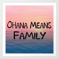 ohana Art Prints featuring Ohana by Amy Copp