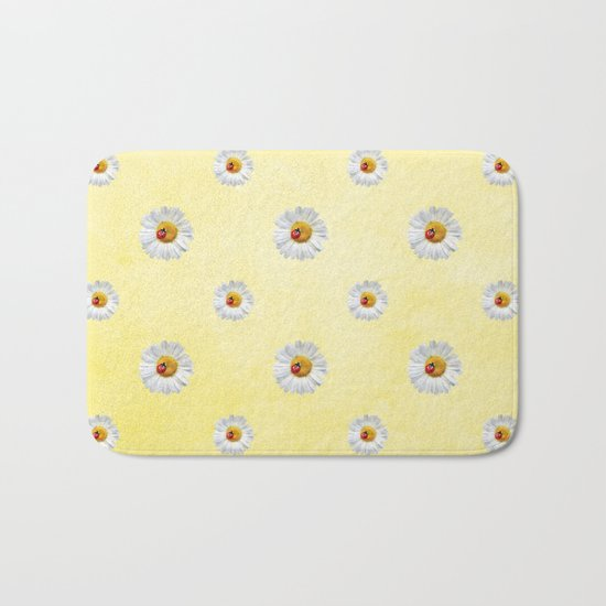 Daisies in love- Yellow Daisy Flower Floral pattern with Ladybug on #Society6 Bath Mat