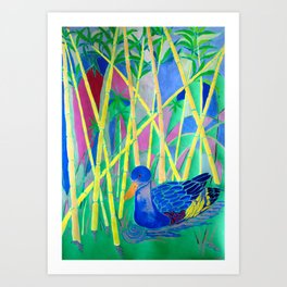 La Papera nello Stagno al Tramonto (Duck in a Pond at Sunset) Art Print