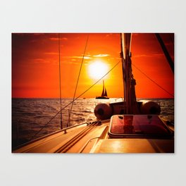 Yacht at Sunset Canvas Print