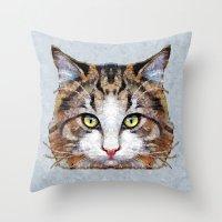 meow Throw Pillows featuring MEOW by Ancello