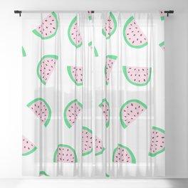 Watermelon White Pink Pattern Sheer Curtain