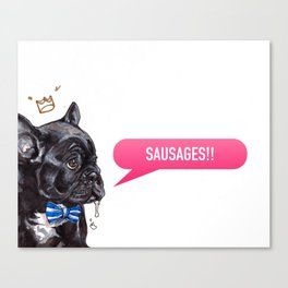 I Love Sausages Frenchie Canvas Print