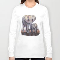 novelty Long Sleeve T-shirts featuring Elephants Mom Baby by Moody Muse