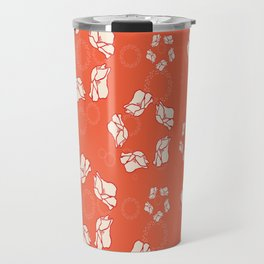 Poppy Pattern Collection - Red Background & Cream Flowers Travel Mug