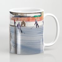 outdoor Mugs featuring Outdoor hockey rink by RMK Photography