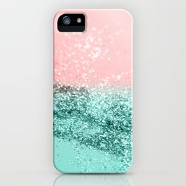 Summer Vibes Glitter #4 #coral #mint #shiny #decor #art #society6 iPhone Case