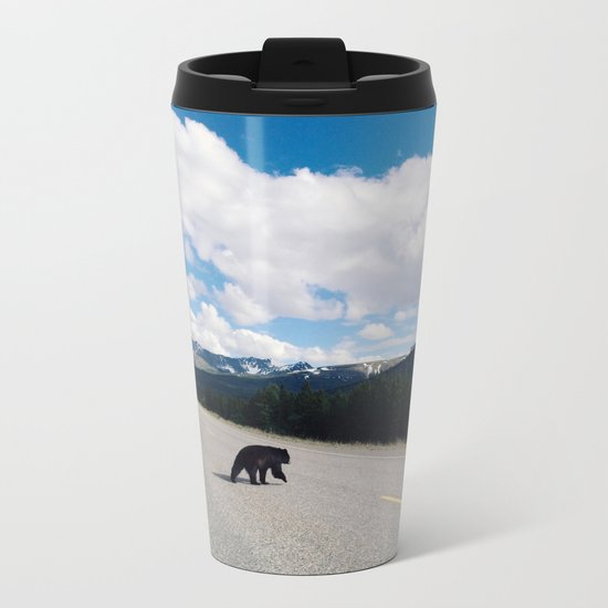 Black Bear Crossing Metal Travel Mug