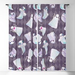 Hand Painted Halloween Kawaii Ghost Pattern On Violet Blackout Curtain